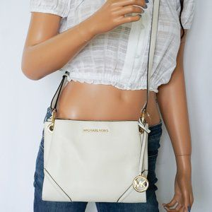 Michael Kors Nicole Leather Xbody Bag Vanilla